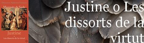 Justine o dissorts. Portada